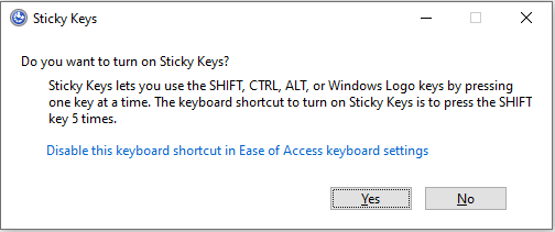 How to disable Windows Sticky Keys?