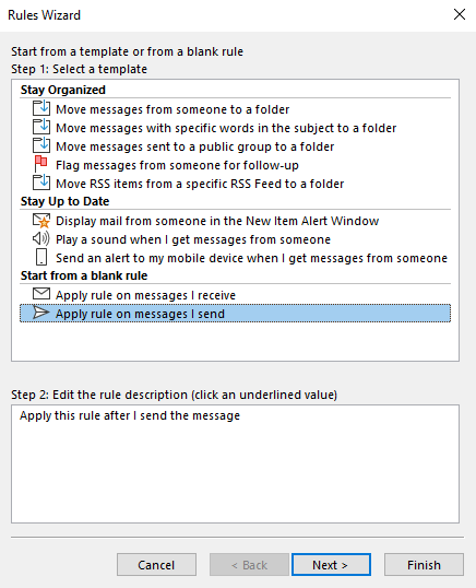 Microsoft Outlook rules wizard