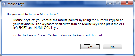 how to control the mouse cursor using the keyboard on windows
