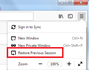 Restore previous session in Firefox