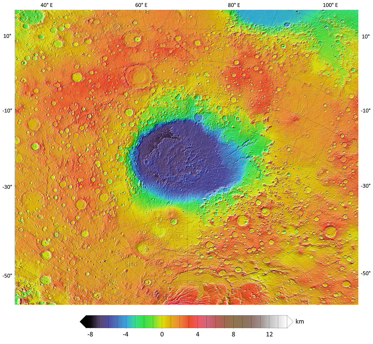 Hellas Planitia impact crater for some interesting facts about impact craters on Mars