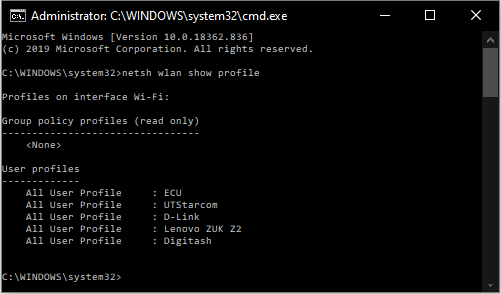 How to find your Wi-Fi password when connected in Windows using Command Prompt?