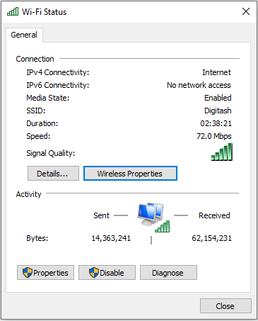 How to find your Wi-Fi password when connected in Windows using Wireless Network Properties?