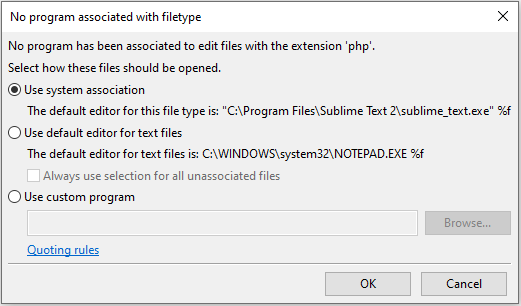 No program associated with filetype FileZilla