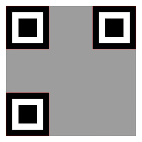 Quiet zone and finder patterns in QR code