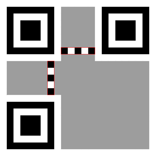 Timing pattern in QR code