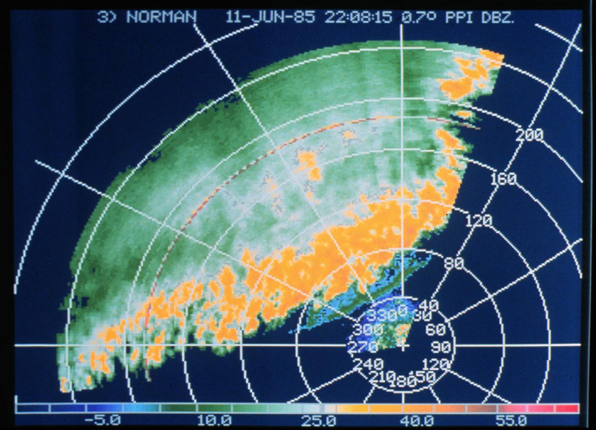 Reflectivity on a radar display